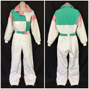 Vintage Fera Ski Suit 8 Snowsuit White Pink 80s